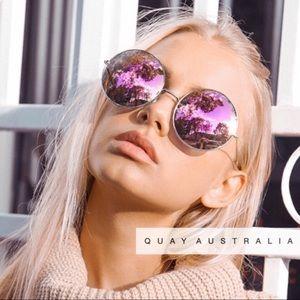 QUAY Dynasty sunglasses round pink mirror cat eye